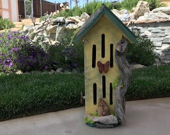Butterfly House, Primitive Rustic Butterflies Habitat Nesting Box with Driftwood, Handmade & Hand Painted Bug Box Garden Art Item #597014022