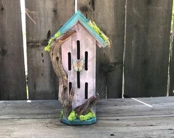 Butterfly House Primitive Rustic Butterflies Habitat Nesting Box with Driftwood, Handmade & Hand Painted Bug Box Garden Art Item #613333881