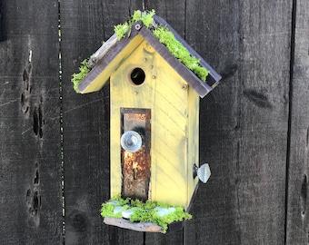 Birdhouses Handmade Wood Bird House with Mosaic Tile Stone, Antique Door Plate & Glass Doorknob, Garden Birds Nest Box, Item #614329593