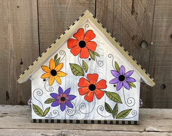 Large Condo BIRDHOUSE, Artistic Flower Birdhouse, SPECIAL ORDER, Post Mount Birdhouse, Bird House, Floral Art Birdhouse, Designer Bird House