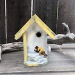 Birdhouse For The Outdoors, Yellow & White Bird House, Rustic Beach Birdhouse, Backyard Wooden Bird Houses Hanging Birdhouse Nesting Box