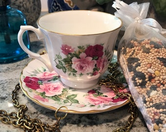 Teacup Bird Feeder with Saucer Crown Trent Staffordshire England Fine Bone China, Included Single Bag Bird Seed Item #622107515