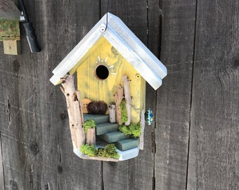 Birdhouse Handmade Cedar Wood Hand Painted Outdoor Bird House Yellow & White, Real Driftwood Sticks Birdhouses For Sale, Item #608238636