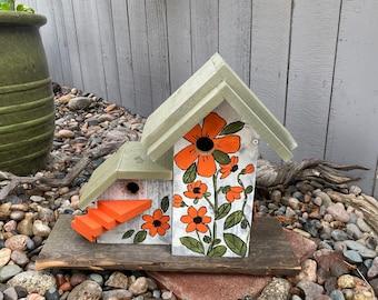 Rustic Birdhouse Condo Bird House, Cedar Wooden Birdhouse, Bird House Post Mount Condo Birdhouse, Hand Painted Birdhouse Floral Design