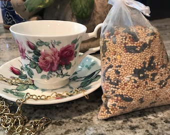 Teacup Bird Feeder with Saucer Roy Kirkham England Fine Bone China, Included Single Bag Bird Seed Item #622096009