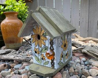 Rustic Birdhouse, Wooden Birdhouse, Handmade Birdhouse For Outdoors, Decorative Bird House, Functional Bird's House Hand Painted Flowers