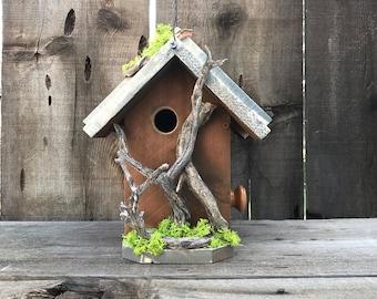 Birdhouse Handmade Cedar Wood Hand Painted  Outdoor Bird House Caramel & White, Manzanita Driftwood Birdhouses, Item #600492114