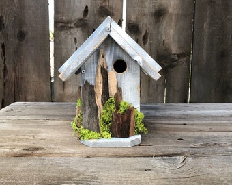 Birdhouse Handmade Recycled Wood Hand Painted Bird House White over Grey with Driftwood, Moss, Farmhouse Birdhouses, Item #612154321