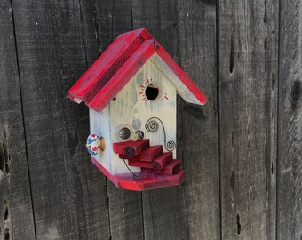 Birdhouse Functional Wood Bird House Handmade Outdoor For Garden Cavity Nesting Birds Whimsical Hanging Cottage Birdhouses, Item #622043409