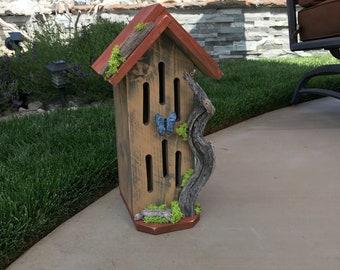 Butterfly House, Primitive Rustic Butterflies Habitat Nesting Box with Driftwood, Handmade & Hand Painted Bug Box Garden Art Item #596997792
