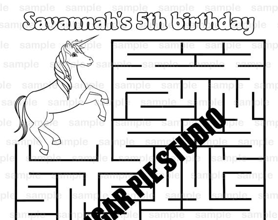 Unicorn coloring maze page Birthday Party Favor childrens activity PDF or JPEG file
