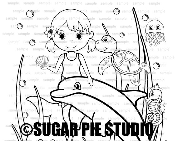 Mermaid coloring page Birthday Party Favor childrens kids coloring page activity PDF or JPEG file