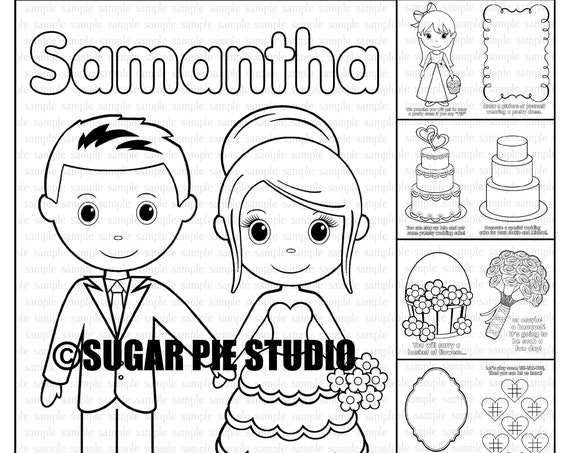 Flower girl proposal coloring activity book Personalized printable PDF template