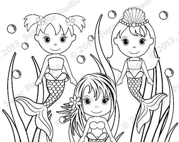Mermaid coloring page Under the sea Birthday Party Favor childrens kids coloring page activity PDF or JPEG file