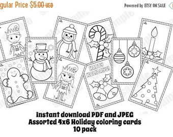 christmas coloring cards assorted 10 pack coloring pages 4x6 instand download pdf and jpeg included