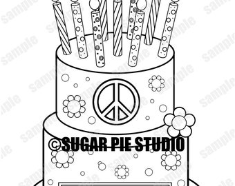 Peace Birthday Cake Coloring Page Activity Party Favor Childrens Kids Printable PDF Or JPEG File