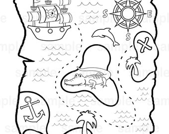 graphic about Printable Pirate Maps identified as Printable pirate map Etsy