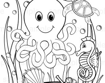 Personalized Printable Under The Sea Birthday Party Favor Childrens Kids Coloring Page Activity PDF Or JPEG File