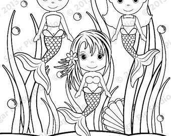 Coloring sea girl   Etsy