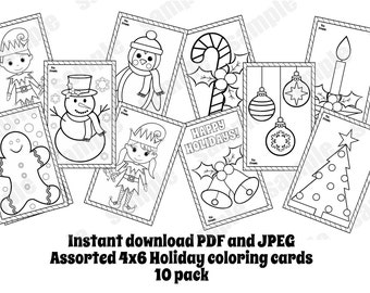 christmas card set assorted 10 pack coloring cards coloring pages 4x6 instand download pdf and jpeg included