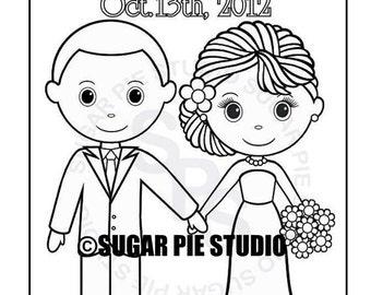 bride coloring page etsy