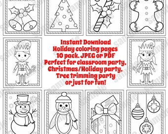 Christmas Coloring Pages Holiday Sheets Party Favor Teacher Classroom PDF And JPEG Available
