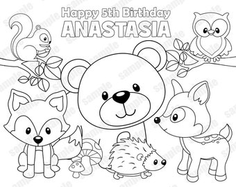 Personalized Printable Woodland Forest Animals Deer Fox Birthday Party Favor Childrens Kids Coloring Page Activity PDF Or JPEG File