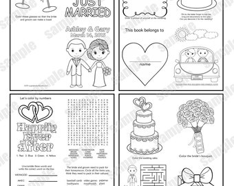Mini Printable Personalized Wedding coloring activity book | Etsy