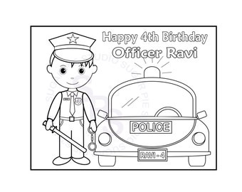 Personalized Printable Policeman Birthday Party Favor Childrens Kids Coloring Page Book Activity PDF Or JPEG File