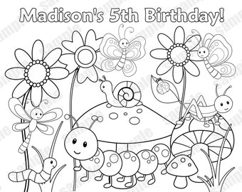 Personalized Printable Bugs Insects Birthday Party Favor Childrens Kids Coloring Page Activity PDF Or JPEG File