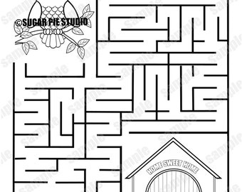 Personalized Printable Owl Birthday Party Favor Childrens Kids Coloring Page Maze Activity PDF Or JPEG File