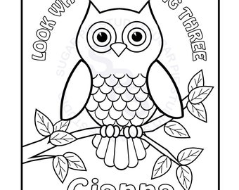 printable owl coloring pages Owl coloring pages | Etsy printable owl coloring pages