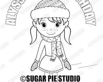 Ice Skating coloring page activity Winter wonderland Birthday Party Favor childrens kids Printable PDF or JPEG file