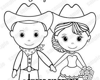 Kid coloring pages etsy country western bride groom wedding party favor childrens kids coloring page activity personalized printable pdf or jpeg file altavistaventures