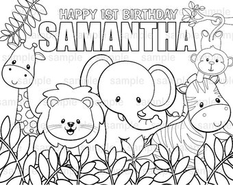 Personalized Printable Jungle Safari Birthday Party Favor Childrens Kids Coloring Page Activity PDF Or JPEG File