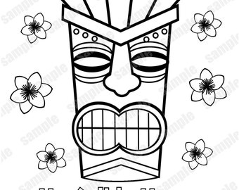 tiki masks coloring pages - photo#25