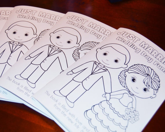 INSTANT DOWNLOAD 8.5x5.5 Printable Wedding coloring activity booklet Favor Kids PDF diy