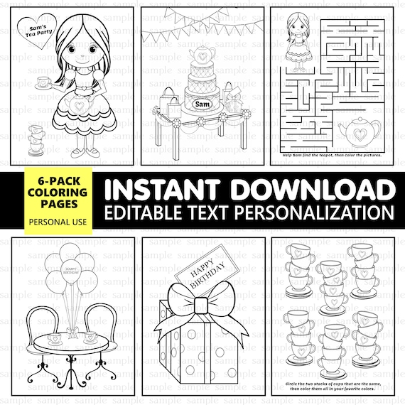 Tea Party coloring pages 6 pack - EDITABLE - Instant Download