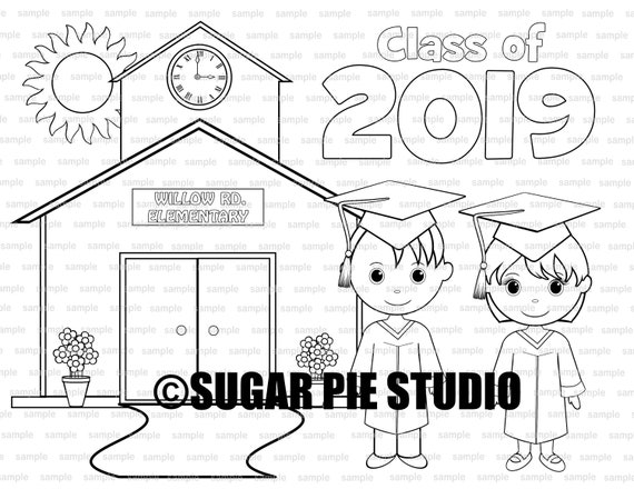Graduation coloring page party favor or classroom party PDF printable