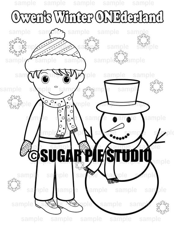 Winter ONEderland Birthday coloring page activity Party Favor childrens kids Printable PDF or JPEG file