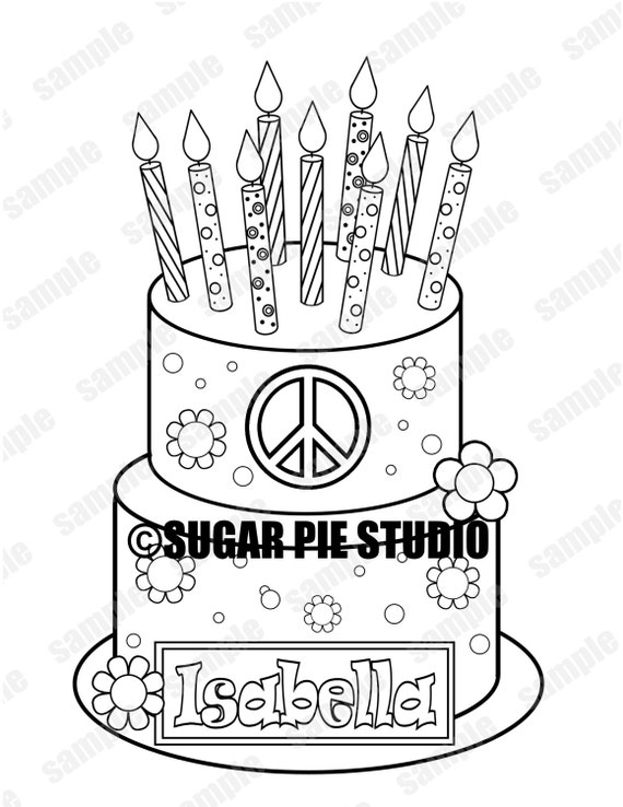 Groovy Peace Birthday Cake Coloring Page Activity Birthday Party Etsy Funny Birthday Cards Online Elaedamsfinfo