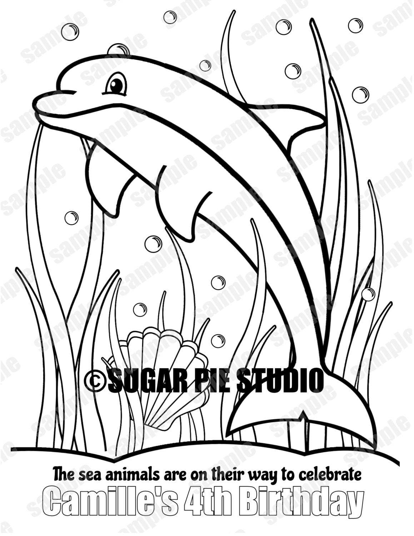 Personalizada para imprimir bajo el mar delfines Favor de | Etsy