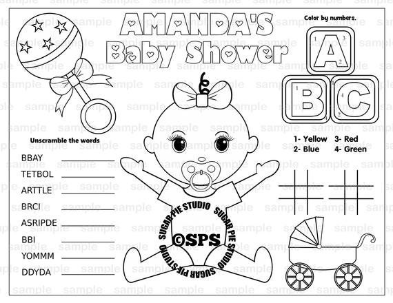 Baby shower coloring Page placemat 8.5x11 Childrens coloring page activity PDF or JPEG file
