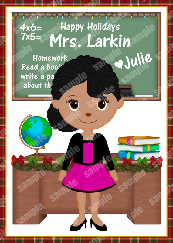 Digital File Printable Teacher classroom Christmas Holiday Personalized card gift