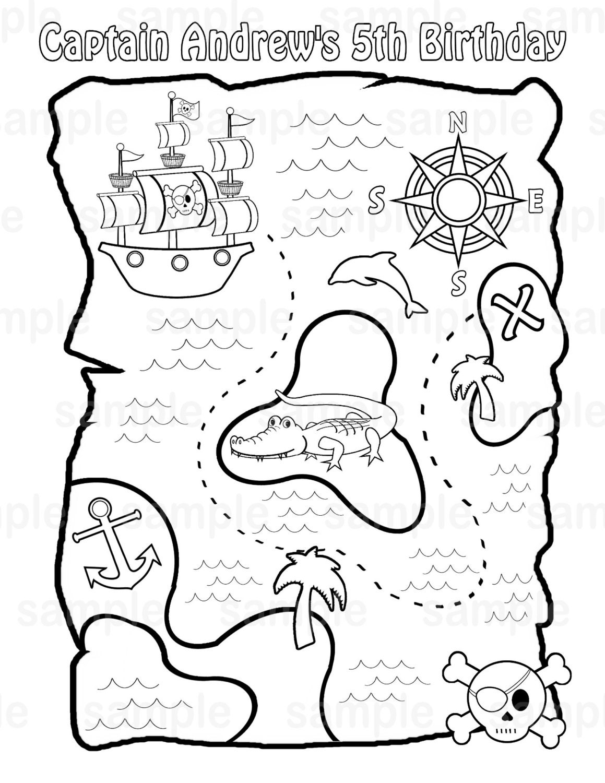 Personalisierte druckbare Piraten Schatz Karte Geburtstag Partei zugunsten  Kinder Kinder Färbung Seite Buch Aktivität PDF oder JPEG-Datei
