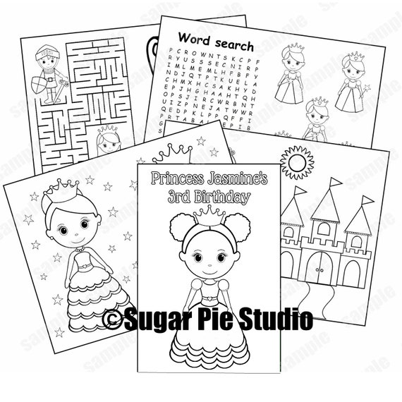 Princess party coloring book Favor Printable template PDF or JPEG