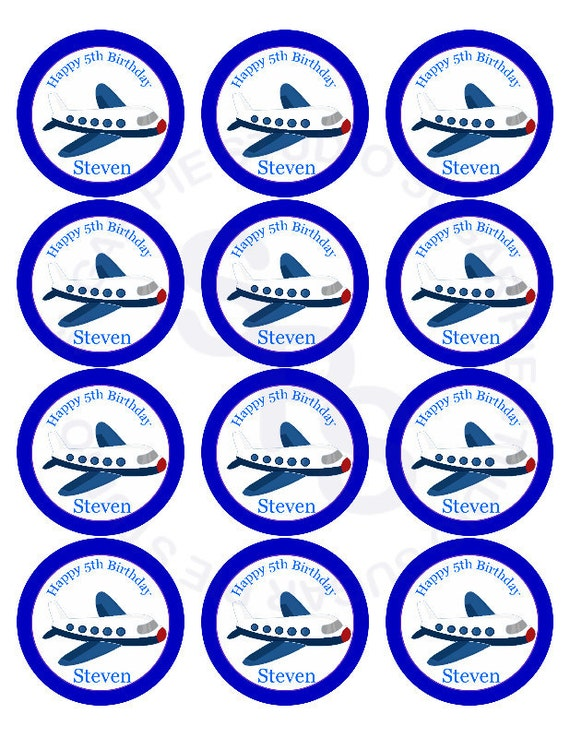 Little Airplane Pilot Mix and Match 2.5 inch circle Cupcake toppers or tags Printable Personalized Digital File DIY