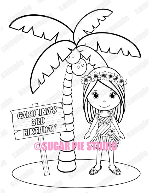 Luau hawaiian Birthday Party Favor childrens kids coloring page activity Personalized Printable PDF or JPEG file