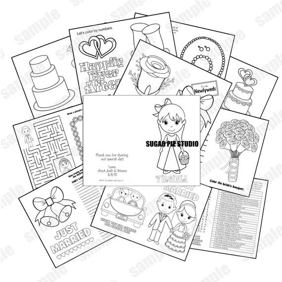 Flower girl Ring bearer coloring book booklet size personalized digital DIY template file