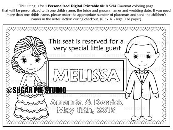 PRINTABLE Personalized Wedding Favor Placemat Childrens | Etsy